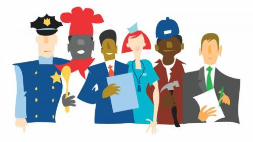 Images of different career professions like police officer, chef, businessman, nurse, construction worker, and lawyer.