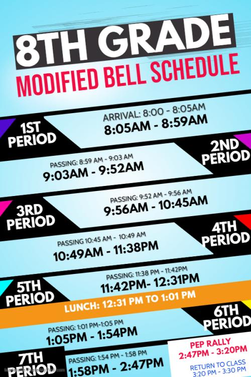 8th grade modified bell schedule