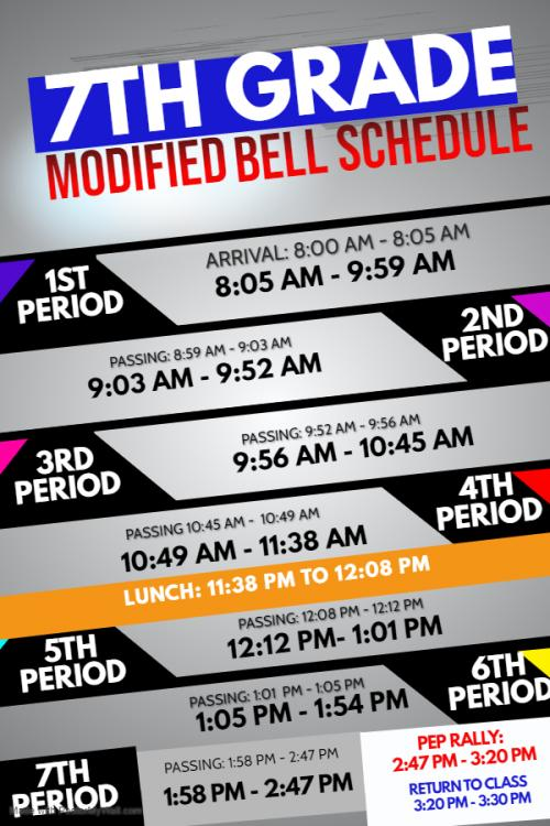 7th grade modified bell schedule