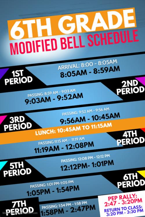 6th modified bell schedule times
