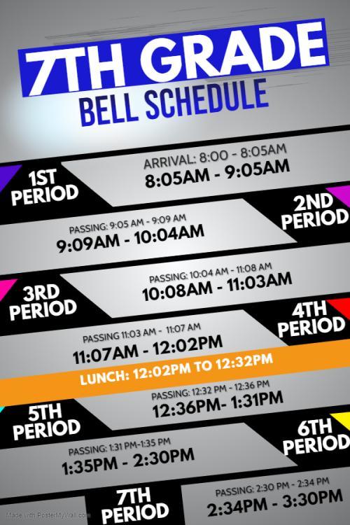 7th grade bell schedule