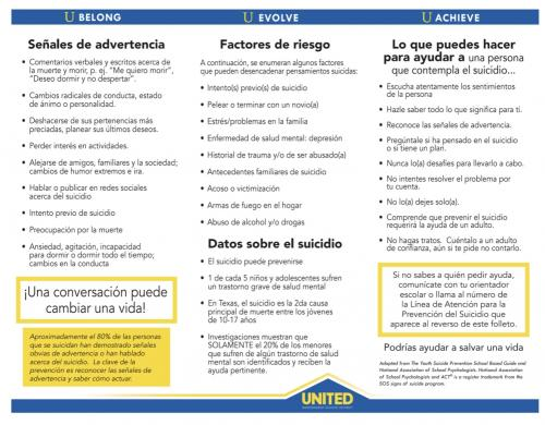 Suicide Prevention Brochure Spanish Page 2