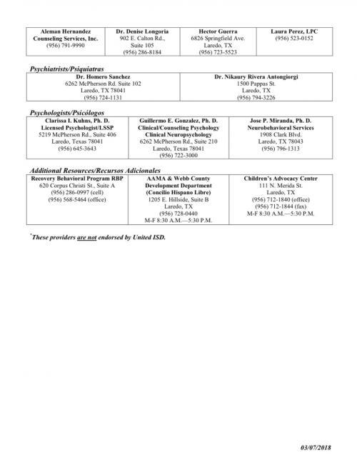 UISD Community Resource List Page 2