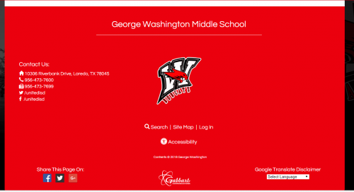 Login page of school website