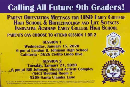 Early College Parent Meeting Information