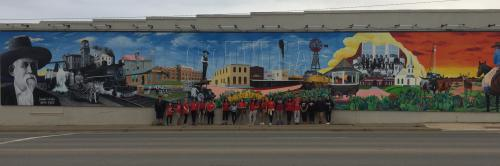 2017-2018 Art Club members visit City of Cotulla Mural, designed and painted by Laredo Artist Gil Rocha