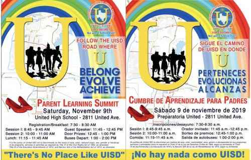 Parent Learning Summit Flyer Information - English and Spanish