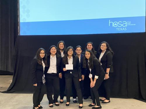 Andria Villanueva, Victoria Palacios, Mireya Molina, Minelly Camargo, Amorette Mainhart, Esha Idnani, Mirabella Maldonado & Analee Cuellar @ HOSA 2023 Area VII Competition February Placed overall HOSA's Scavenger Hunt winners