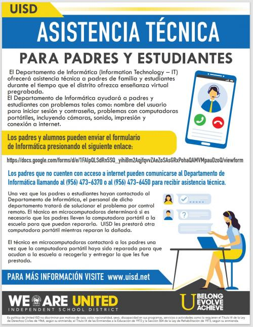 Technical Support Flyer in Spanish