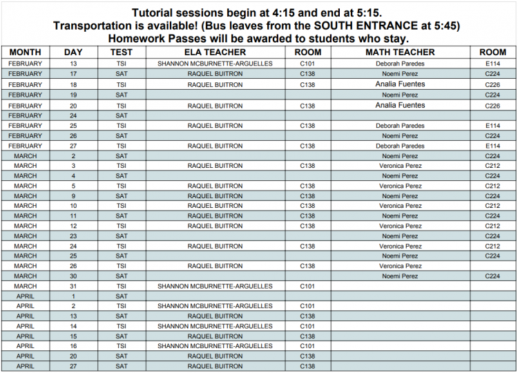 TSI & SAT Spring Semester Tutorial Schedule