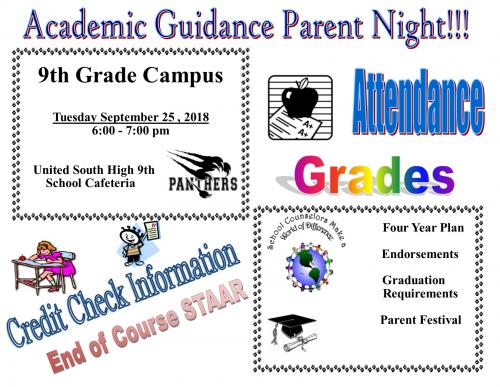 Flyer from Counselor's announcing a parent night session for EOC STAAR. Tuesday, 9/25/18 in the cafeteria of the United South 9th Grade Campus.