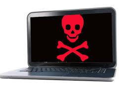 PC with skull and crossbones
