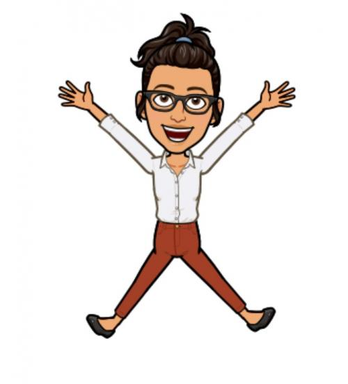 emoji of Ms. Avalos jumping on the air like a star shape