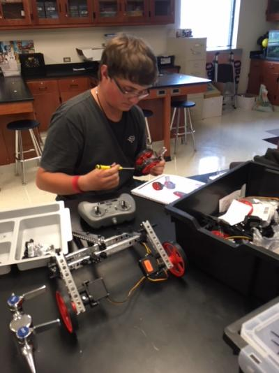 Student working on his Robotics Project 9-4-18