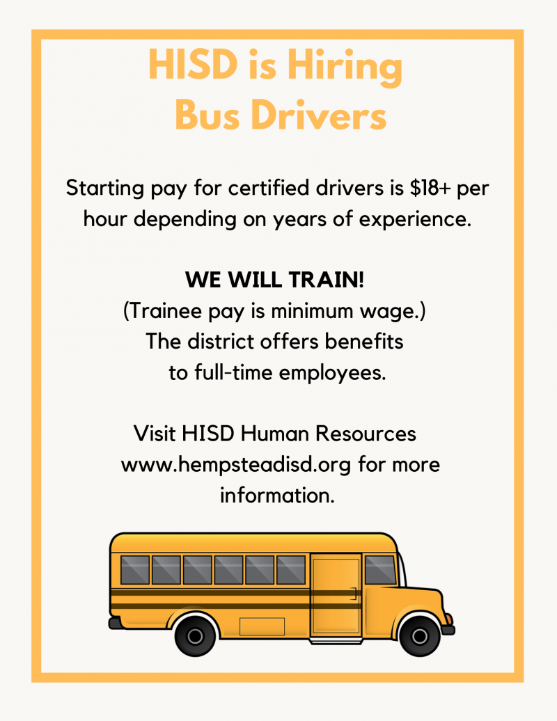 HISD Is Hiring Bus Drivers