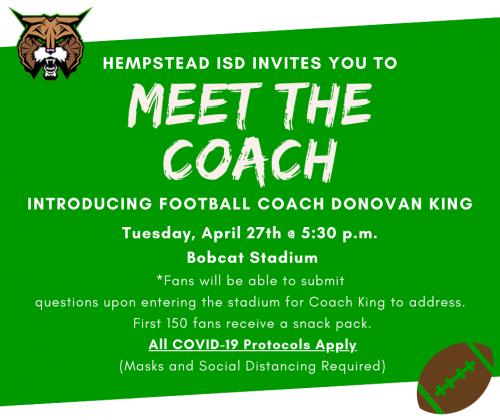 Meet Donovan King New Football Coach April 27 at 5:30 p.m. at Bobcat Stadium