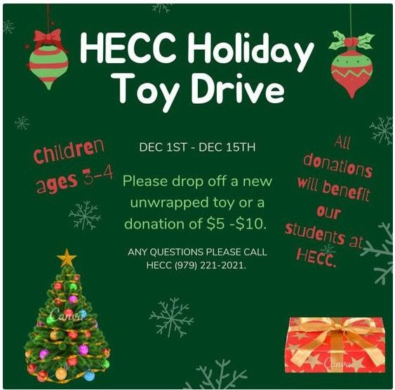 HECC Toy Drive December 1-15