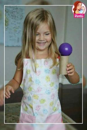 Here is a fun activity you can do at home with a toilet paper roll and a ball