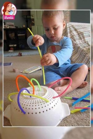 Here is a fun activity you can do at home with a colander and pipe cleaners