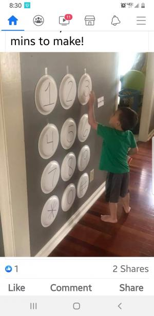 Here is a fun way to teach your child their phone number with paper plates.