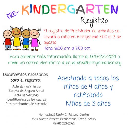 Pre-Kindergarten Registro