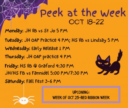 Oct. 18-22 Peek at the Week