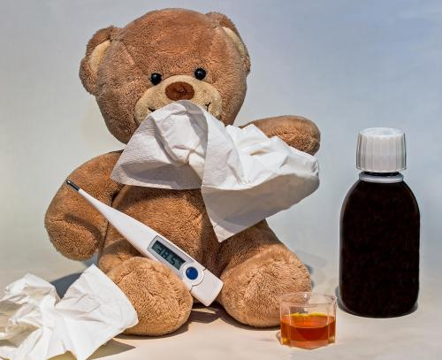 Teddy Bear with cough syrup
