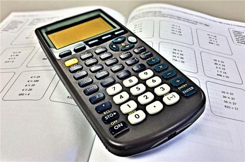 calculator on worksheet