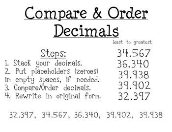 steps to compare and order decimals