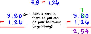 subtract decimals