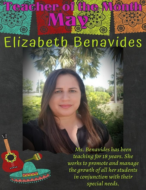 teacher of the month for may Elisabeth benavidez