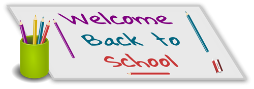 Reads welcome back to school. Shows a cup holding colored pencils.