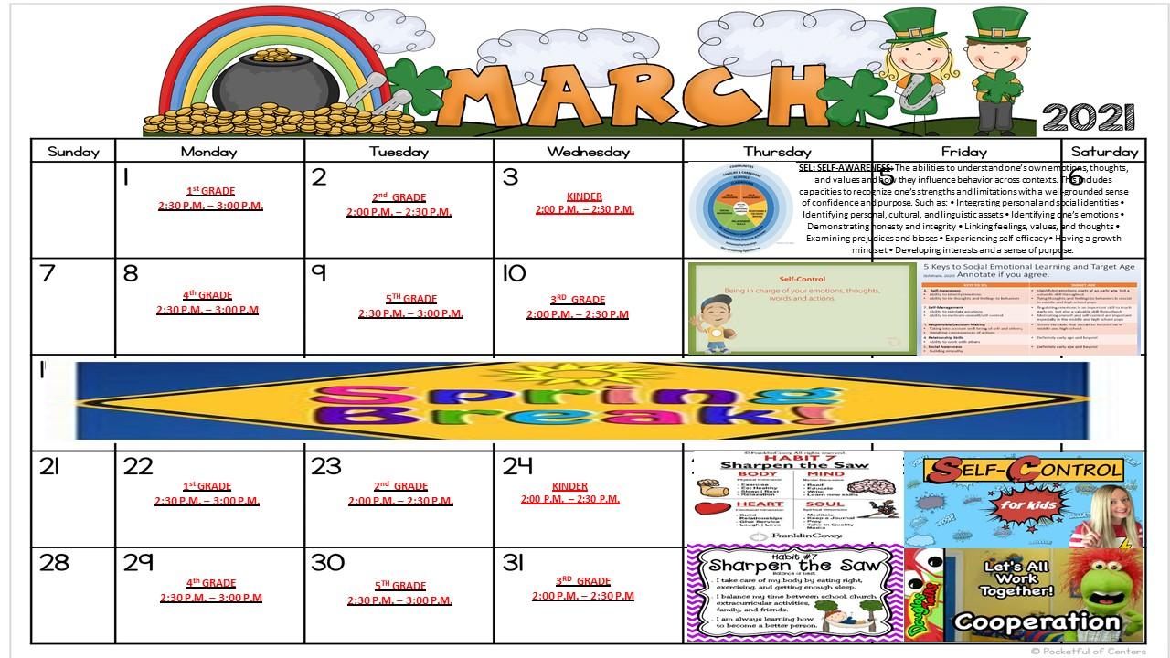 calendar for marhc