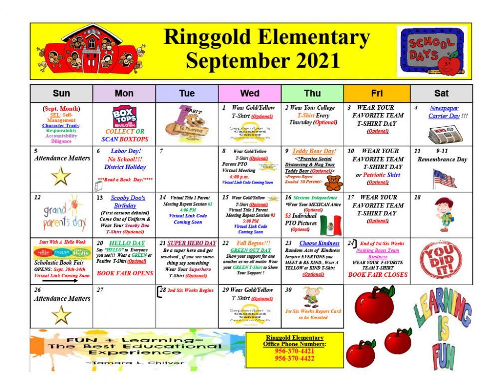 Ringgold Elementary School September Calendar