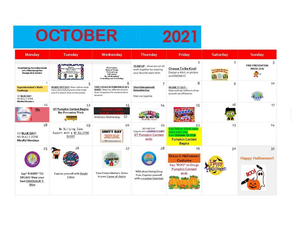 Ringgold Elementary October Calendar of Events