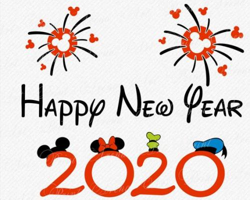 Happy New Year 2020, shows fireworks with mickey mouse head, first two numbers have mickey and minnie ears above them, last two numbers have goofy and donald hats above them