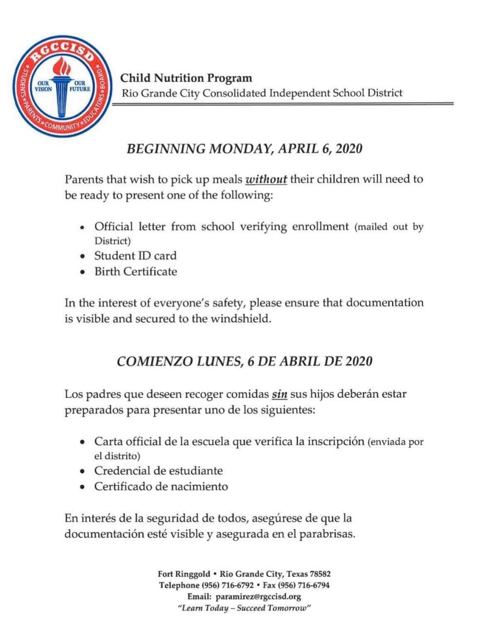 April 4 Child Nutrition Notice