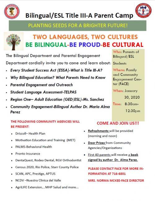 Parent Camp Announcement in English