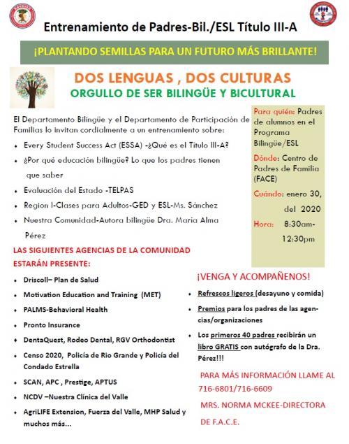 Parent Camp Announcement in Spanish