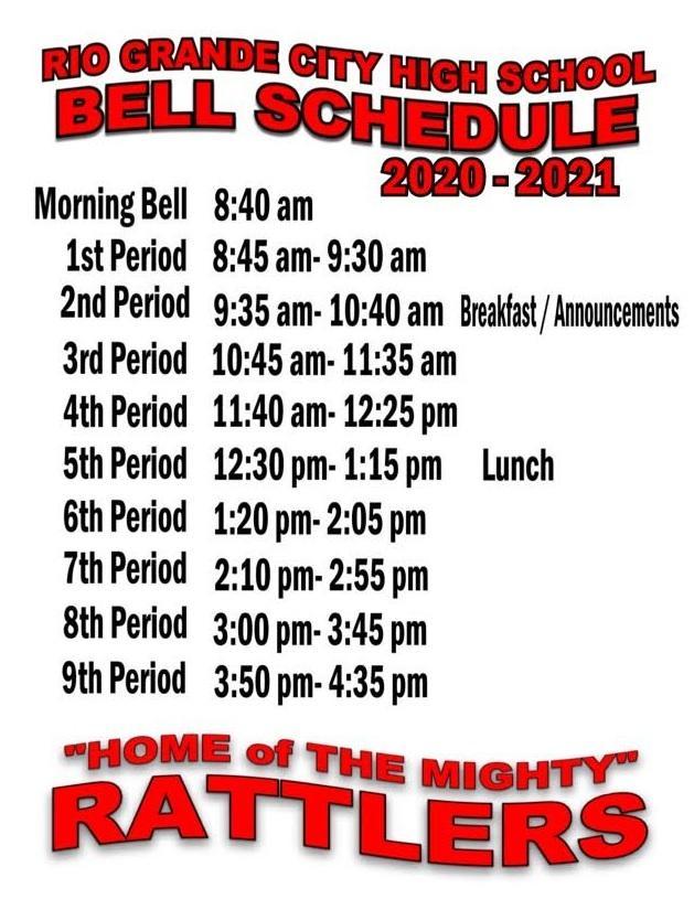 2020-2021 RGCHS Bell Schedule