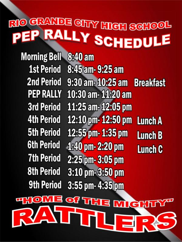 Pep Rally Bell Schedule