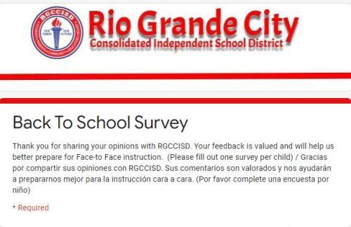RGCCISD Back to School Survey