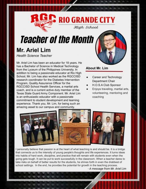 RGCHS Teacher of the Month