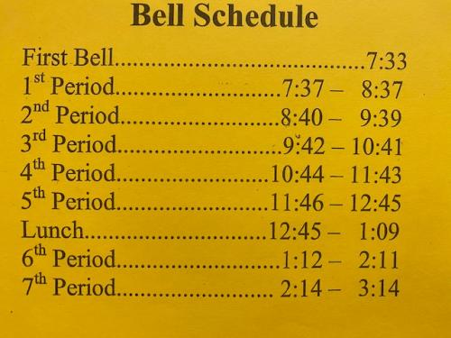 Extended School Day - New Bell Schedule