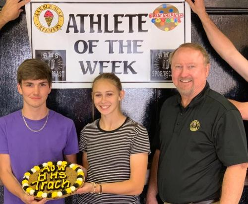 Athletes of the week (from left to right) John Jett and Hannah Dahlhoff. Also Pictured David McConathy.