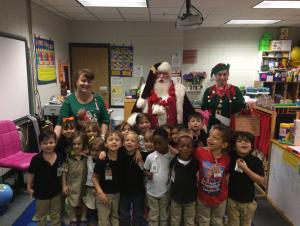 Santa and his elf visit Mrs. Austin's LA 4 Class