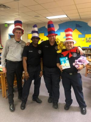 Fort Polk Firemen as guest readers for Read Across America Day