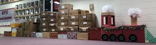 Train with boxes of non-perishable items collected.