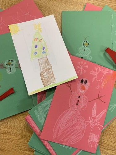 Hand made Christmas cards for the deployed troops