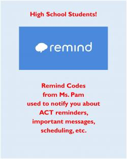 Remind Codes for HS Students